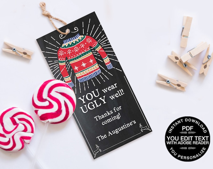 Ugly Sweater Party Favor Tag - Tacky Sweater,Holiday Sweater Party,Christmas Office Party   DIY Editable Text Instant Download PDF Printable