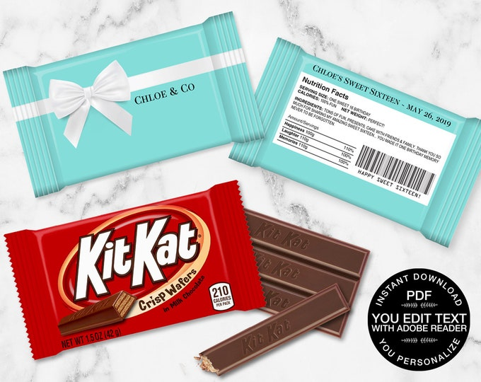 Sweet Sixteen Kit Kat Candy Bar Label/Wrapper - Sweet 16 Party Favor, Turquoise Favor | DIY Self-Editing Text INSTANT Download Printable