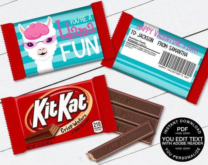 Llama Valentine Kit Kat Candy Bar Label/Wrapper - Valentine Party Favor, Valentine Card | D.I.Y. Editable Text INSTANT DOWNLOAD Printable