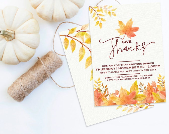 Thanksgiving Dinner Invitation - Thanksgiving Dinner Invite, Thanksgiving, Fall Leaves | Editable, TextINSTANT Download Printable PDFs