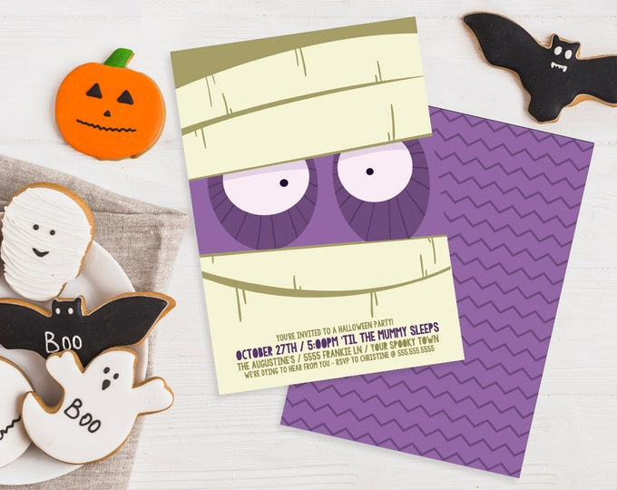 Mummy Party Invitation - Monster Mash, Halloween Party, Costume Party | Editable Text - DIY Instant Download PDF Printable