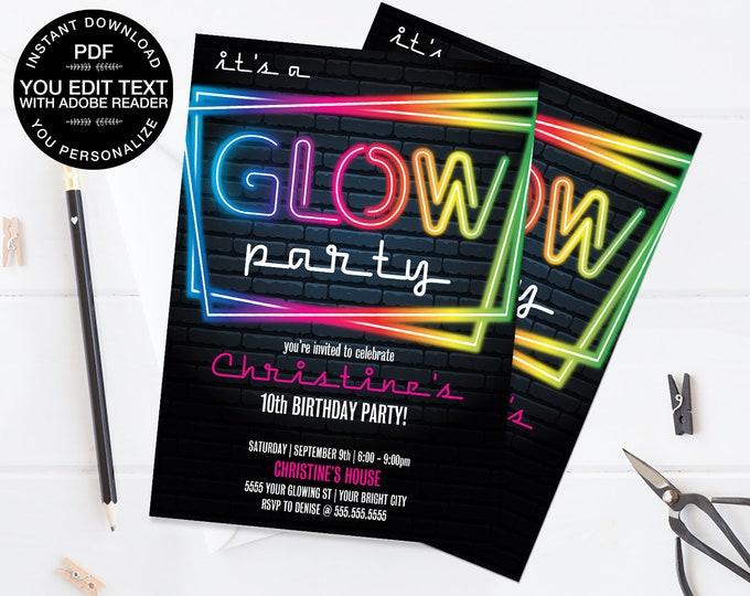 Neon Glow Party Invitation - Neon Glow Birthday, Glow Party Theme, pink | Self-Edit Text - Instant Download DIY Printable PDF