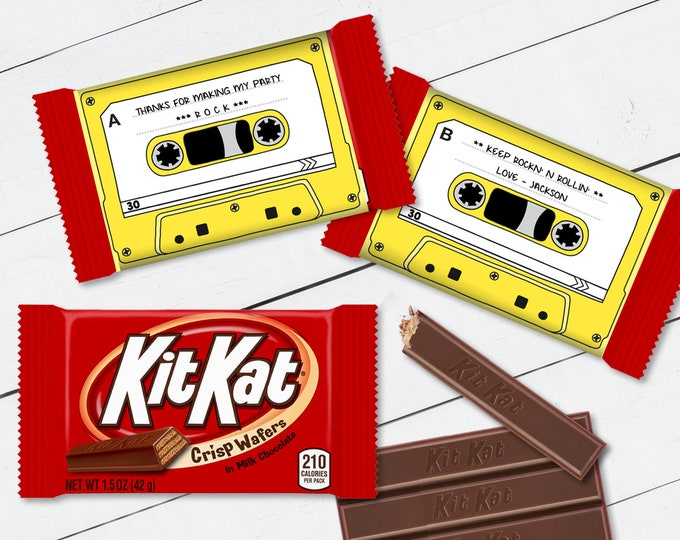 Cassette Tape Kit Kat Candy Bar Label/Wrapper - Retro Party Favor, 80's Party, Yellow   D.I.Y. Editable Text INSTANT DOWNLOAD Printable