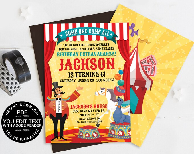 Carnival / Circus Invitation, Carnival Party, Circus Invitation - Horse Seal | Self-Editing Text DIY INSTANT Download Printable SEM101_3