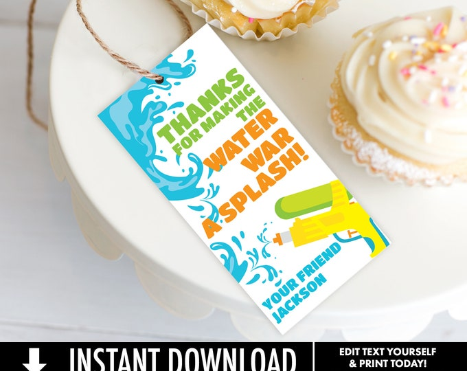 Water Guns & Summer Fun Favor Tag - Summer Birthday, Beach Party, Water Party | Self-Editing with CORJL - INSTANT DOWNLOAD Printable