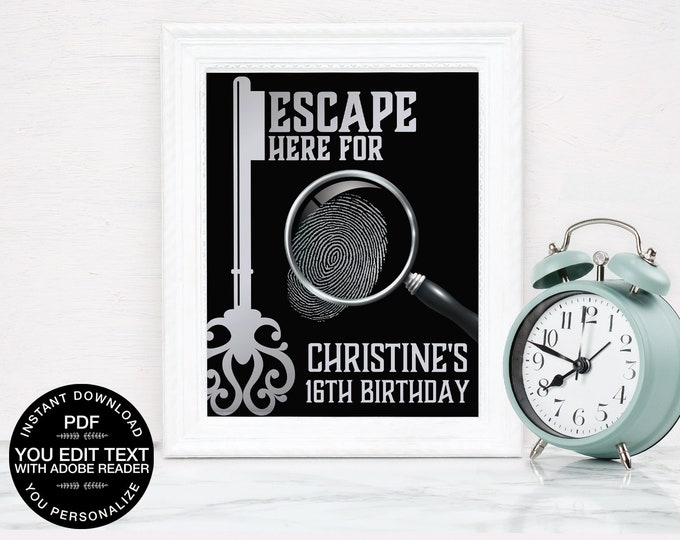"""Escape Room Party 8""""X10"""" Sign, Mystery Party Sign, Birthday Party Sign 