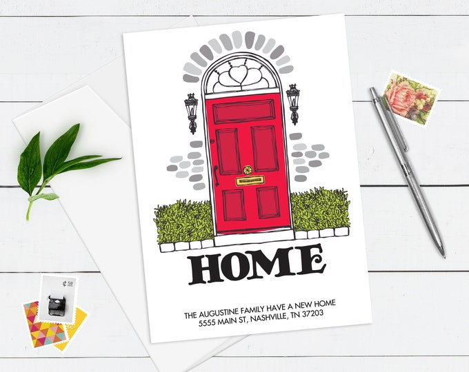 New Home Announcement, Moving Announcement, We've Moved, New House, Red Door | Self-Editing DIY Editable Text INSTANT DOWNLOAD Printable