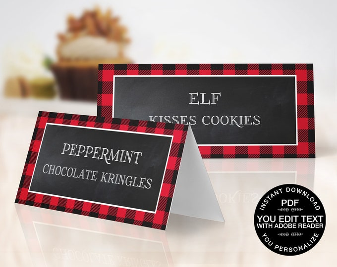 Flannel and Frost Food Labels - Cookie Exchange, Lumberjack, Cookies & Cocoa,Hot Chocolate   EDITABLE Text - INSTANT Download Printable PDFs