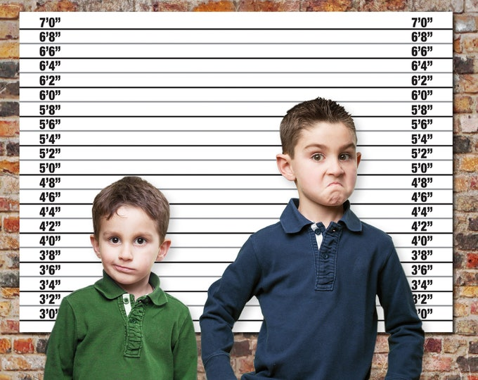 Police Mugshot Backdrop - 36x48 inch - or -  A0 Size Backdrop, Cops & Robbers, Spy, Secret Agent Party   INSTANT Download DIY Printable PDF