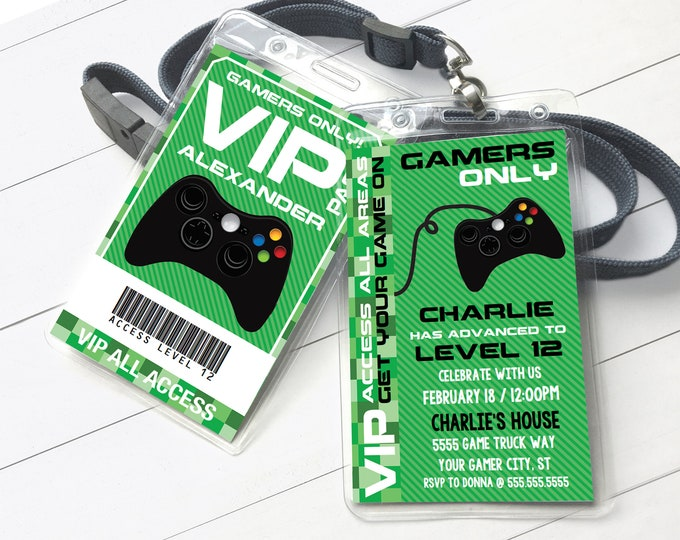Video Gamer VIP I.D. Badge Invitation- 2-Sided Badge, Party Favor, Game Truck Invite | Instant Download D.I.Y. Printable PDF Kit
