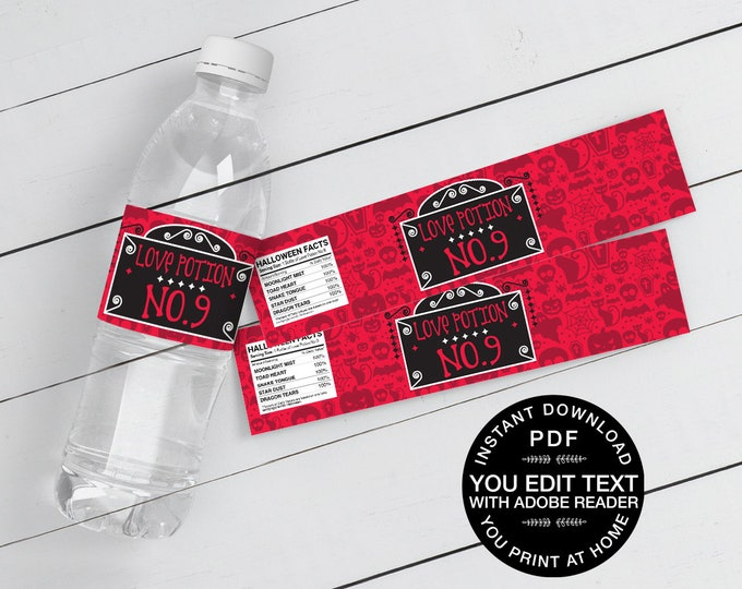 Love Potion No. 9 Water Bottle Wrappers/Labels - Halloween Party | Self-Editing Text Instant Download DIY Printable PDF
