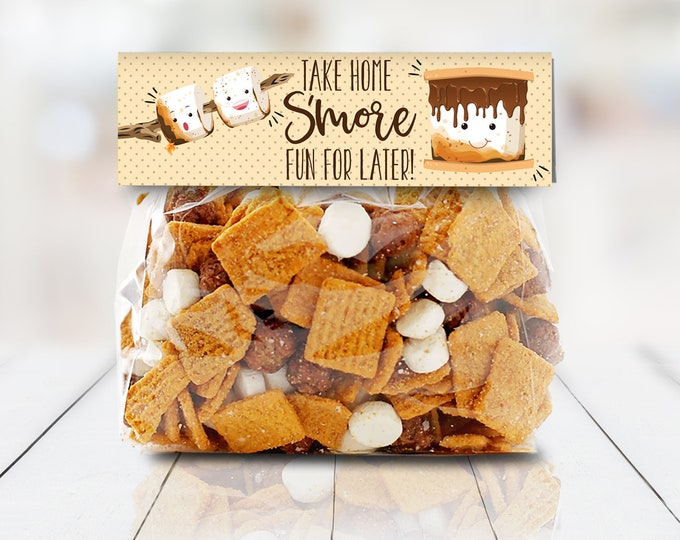 """S'more Party Favor Bag Topper - S'more 6.75"""" Treat Topper, S'more Treats 