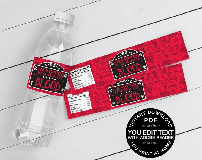 Vampire Blood Water Bottle Wrappers/Labels - Drink Label, Halloween Party | Self-Editing Text Instant Download DIY Printable PDF