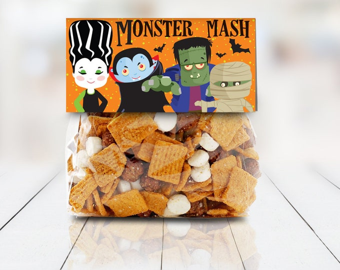 """Monster Mash Treat Baggie Toppers - Halloween Party, Halloween Favor, 4"""" Treat Bag Topper 