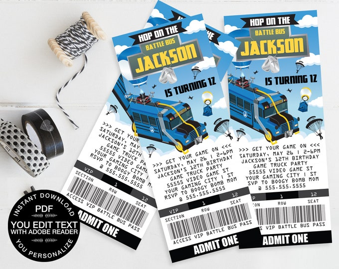 Video Game Ticket Invitation -  Video Game Truck Invite, Video Game Birthday | Self-Edit Text Instant Download DIY Printable PDF