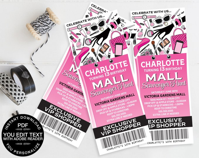 Mall Scavenger Ticket Invitation, Birthday Party Ticket Invite | Self-Editing Text DIY Editable Text INSTANT Download Printable