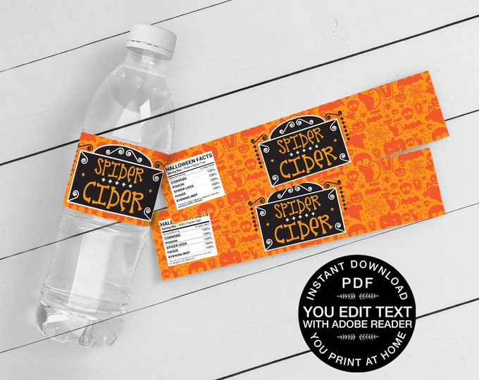 Spider Cider Water Bottle Wrappers/Labels - Drink Label, Halloween Party | Self-Editing Text Instant Download DIY Printable PDF