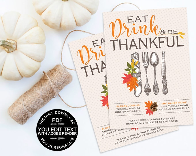 Thanksgiving Party Invitation - Thanksgiving Dinner Invite, Includes Address Label, Editable Text | INSTANT Download Printable PDFs