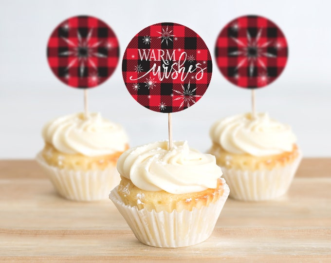 Cupcake Toppers - Flannel & Frost, Warm Wishes,Hot Chocolate,Hot Cocoa,Pancakes Pajamas,Buffalo Plaid | Pre-Typed INSTANT DOWNLOAD Printable