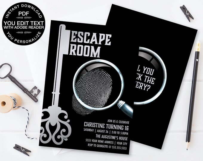 Escape Room Invitation, Escape Room Party,Mystery Party Invite | Self-Editing Text DIY INSTANT Download Printable SEM100_8