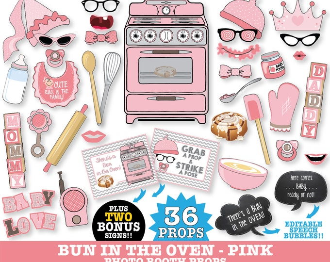 Bun in the Oven Baby Shower - Photo Booth Props - Baby Reveal Shower, It's a girl  - INSTANT Download PDF - 36+ DIY Printable Props