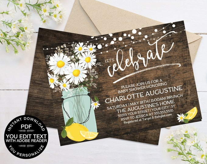 Daisy & Lemon Baby Shower Invitation - Rustic Daisy, Mason Jar Invite, Lemonade Party | Self-Editing Text - Instant Download PDF Printable