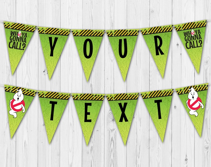 Ghost-busters Party Banner - Ghost-buster Birthday, Ghost-busters Party | DIY Editable Text - INSTANT Download Printable PDFs