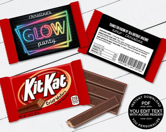 Neon Glow Party Kit Kat Candy Wrap/Label, Neon Glow Theme, Candy Bar Wrapper | Self-Editing Text DIY INSTANT Download Printable
