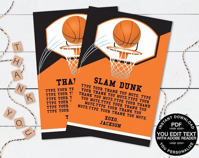 Basketball Thank You Note - Basketball Party, Basketball Birthday,Thank You Card | Self-Editing DIY Editable Text INSTANT DOWNLOAD Printable
