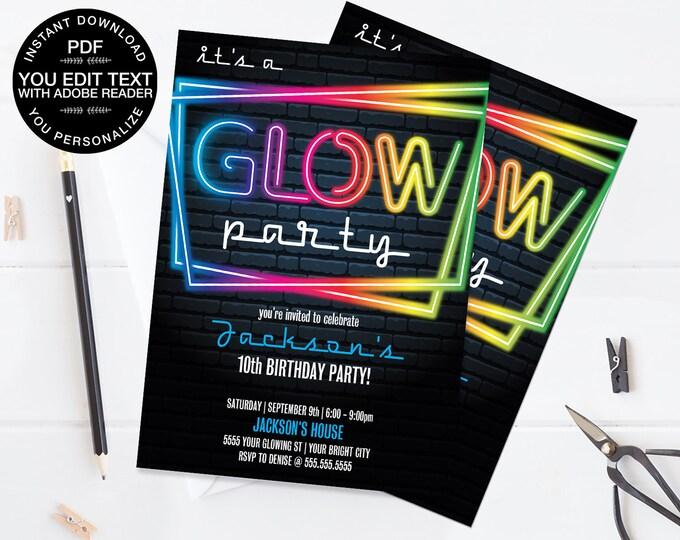 Neon Glow Party Invitation - Neon Glow Birthday, Glow Party Theme, blue | Self-Edit Text - Instant Download DIY Printable PDF