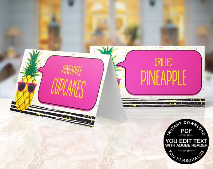 Pineapple Food Label - Party Like a Pineapple, Hawaiian, Luau, Birthday, Pineapple Party | Self-Editable Text DIY INSTANT DOWNLOAD Printable