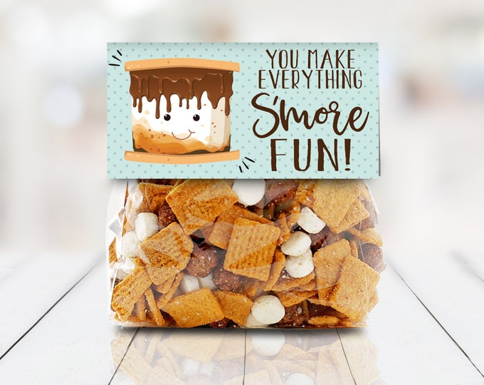 """S'more Party Favor Bag Topper - S'more 4"""" Treat Topper, S'more Treats, 4"""" Baggie - Editable Text on Back 
