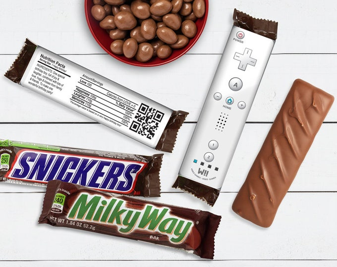 Video Gamer Candy Bar Label/Wrapper - Video Game Party Favor, Nintendo, wii party, white   D.I.Y. Editable Text INSTANT DOWNLOAD Printable