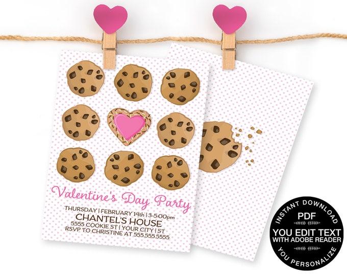 Valentine Party Invitation - Valentine Cookie Party, Valentine's Day Party Invite | D.I.Y. Self-Editing Text INSTANT DOWNLOAD Printable