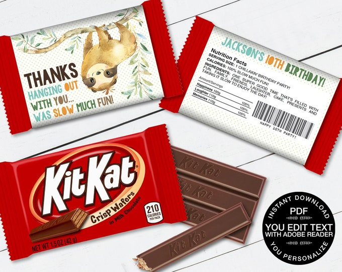 Sloth Kit Kat Candy Bar Label/Wrapper - Party Favor, Sloth Party, Sloth Theme   D.I.Y. Editable Text INSTANT DOWNLOAD Printable