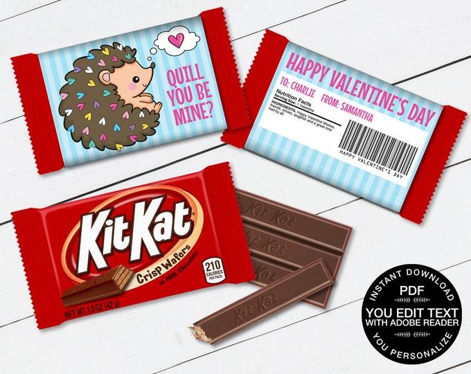 Hedgehog Valentine Kit Kat Candy Bar Label/Wrapper - Valentine's Day Favor | D.I.Y. Editable Text INSTANT DOWNLOAD Printable