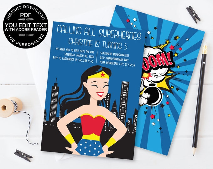 Superhero Invitation - Superhero Birthday Party, Comic Book Invitation with Editable Text - DIY INSTANT Download PDF Printable