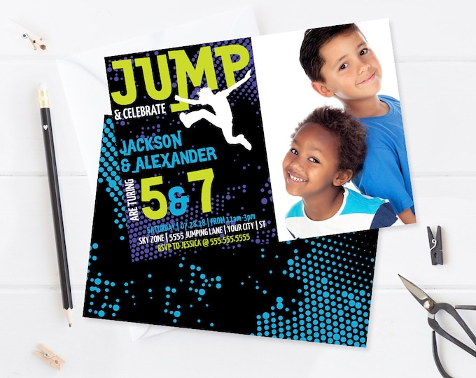 Jump Party Photo Invitation - 2 Kids Invitation,Trampoline Party, Jump & Play, Bounce On Over | Editable Text-Instant Download PDF Printable