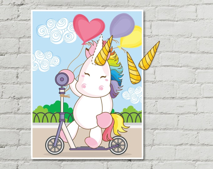 Unicorn Party - 24x36 Pin the Horn on the Unicorn Game - Magical Unicorn Party,Birthday Party, Rainbow | INSTANT Download PDF Printable Game