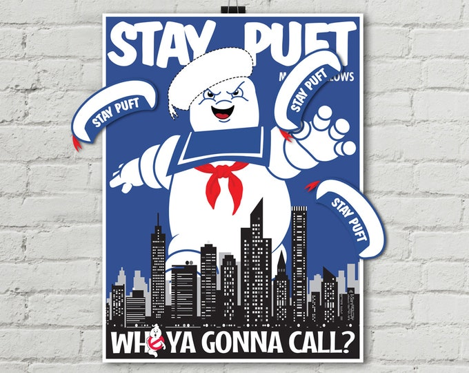 """Ghost-buster Game """"Pin the Hat on Stay Puft Marshmallow Man"""" Game, 18""""x24"""" Ghostbuster Party Game 
