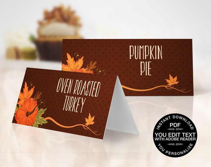 Thanksgiving Food Labels - Name Place Cards - Buffet Tags - Autumn Party, Office Party | EDITABLE Text INSTANT Download Printable PDF