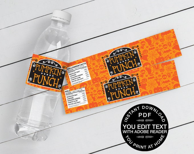 Pumpkin Punch Water Bottle Wrappers/Labels - Halloween Party, Pumpkin Party | Self-Editing Text Instant Download DIY Printable PDF