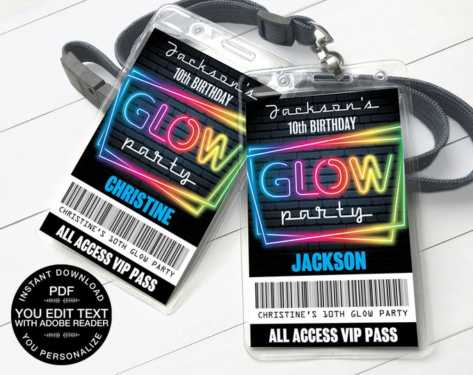 Neon Glow Party VIP Badge, Neon Glow Theme, Glow Party All Access Pass | Self-Editing Text D.I.Y. Editable Text INSTANT DOWNLOAD Printable