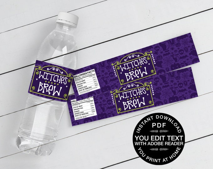 Witches Brew Water Bottle Wrappers/Labels - Drink Label, Halloween Party | Self-Editing Text Instant Download DIY Printable PDF