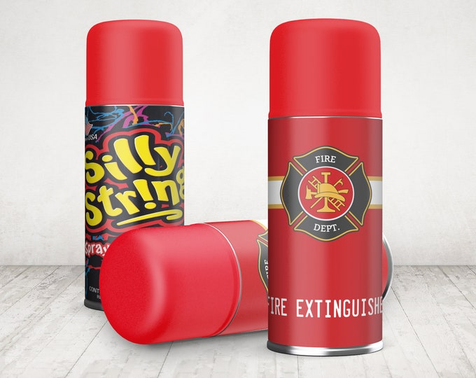 Fire Extinguisher Silly String Label - Silly String Wrap - Fire Fighter Birthday Party - Silly String Label   INSTANT Download PDF Printable