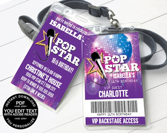 Pop Star Party VIP Badge Invitation, Party like a Pop Star, Rock n Roll | Self-Editing Text D.I.Y. Editable Text INSTANT DOWNLOAD Printable