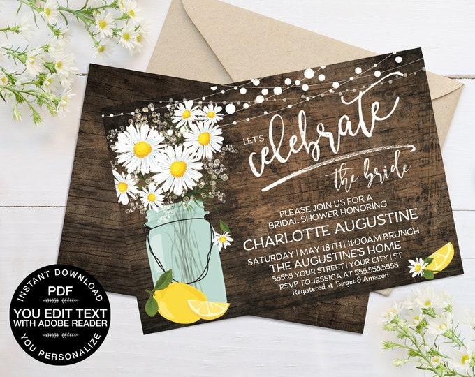 Daisy & Lemon Bridal Shower Invitation - Rustic Daisy, Mason Jar Invite, Lemonade Party | Self-Editing Text - Instant Download PDF Printable