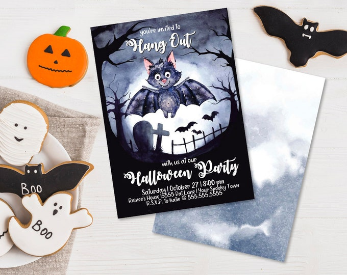 Halloween Bat Party Invitation - Hang Out With Us, Vampire Bat Party, Costume Party | Editable Text - DIY Instant Download PDF Printable