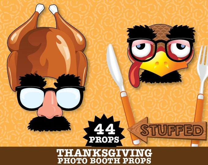 Thanksgiving Photo Booth Props - Turkey Props, Pilgrim Props, Fall Photo Booth - Instant Download PDF - 43 DIY Printable Props