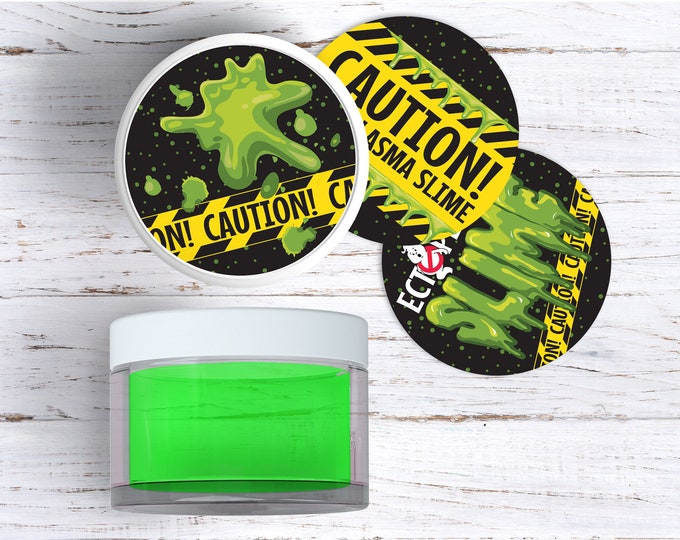 """Ghost-busters Slime 2"""" Jar Sticker Labels includes 3 Versions, Ghost-buster Party, Slime Party 